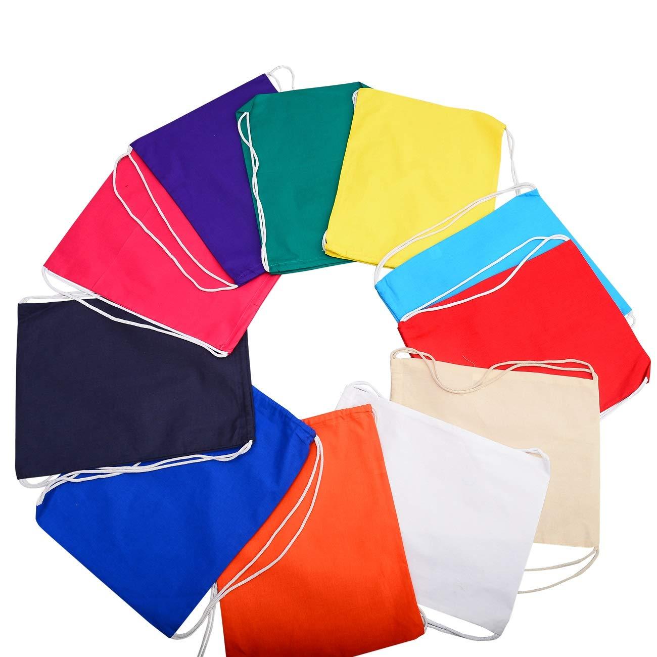 TBF Cotton Drawstring Backpack String Gym Sack Bag Canvas Cinch Sack Sport Cinch Pack Backpack Rucksack for Men, Women, Kid, School, Travel (Assorted Colors, Set of 12)