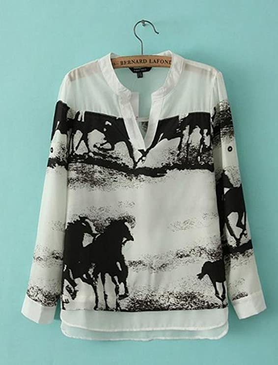 IEason Women Shirt 2017 Women Long Sleeve Casual Black Horse White Shirt Chiffon Tops Blouse at Amazon Womens Clothing store: