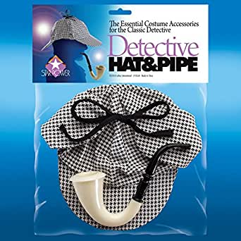Star Power Sherlock Detective Hat & Pipe 2pc Accessory Kit, Grey, One Size