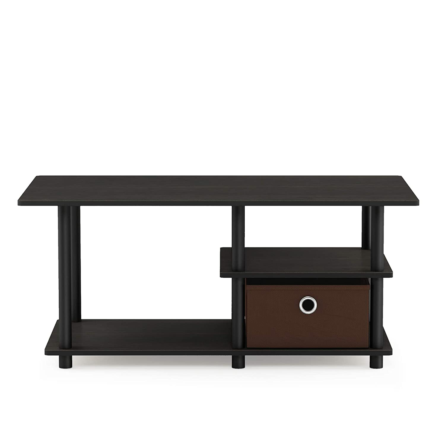 Furinno Turn-N-Tube Toolless TV Stand up to 45 , Espresso Black Dark Brown