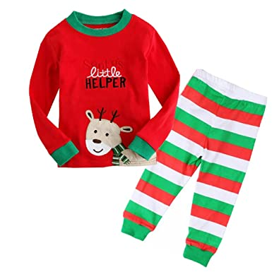 987a849fd Toddler Boys Girls Christmas Pyjamas Train Kids PJS Sets 100% Cotton Long  Sleeve Tops+Pants 2 Piece Baby Xmas Nightwear Sleepwears Ages 2-7 Years: ...