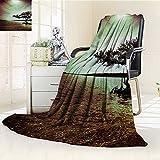 AmaPark Lightweight Blanket Lonely Tree Scene College List One of a Kind Machine Washable Silky Satin Digital Printing Blanket