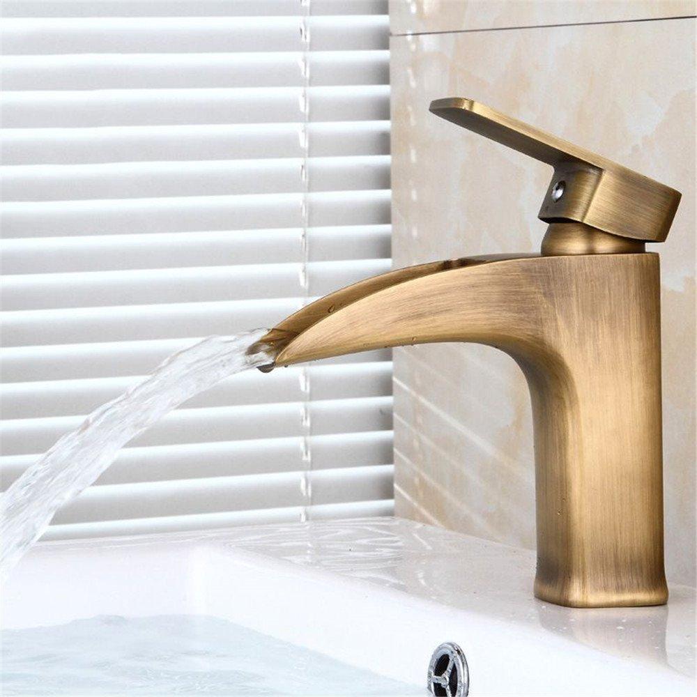 Bijjaladeva Antique Bathroom Sink Vessel Faucet Basin Mixer Tap All copper antique faucet basin, hot and cold plunge mixer basin mixer