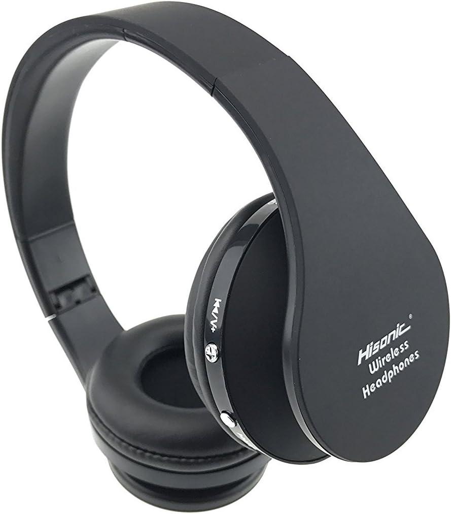 Cascos Bluetooth inalámbricos, Hisonic Auriculares inalámbrica Bluetooth de Diadema Auricular Deporte Plegable con Micrófono y Almohadillias de protección (Negro)