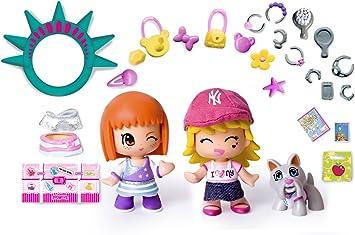 Famosa Pin y Pon Gift Pack Viajes New York - Set temático de 3 muñecos pinypon con accesorios: Juguetes y juegos - Amazon.es