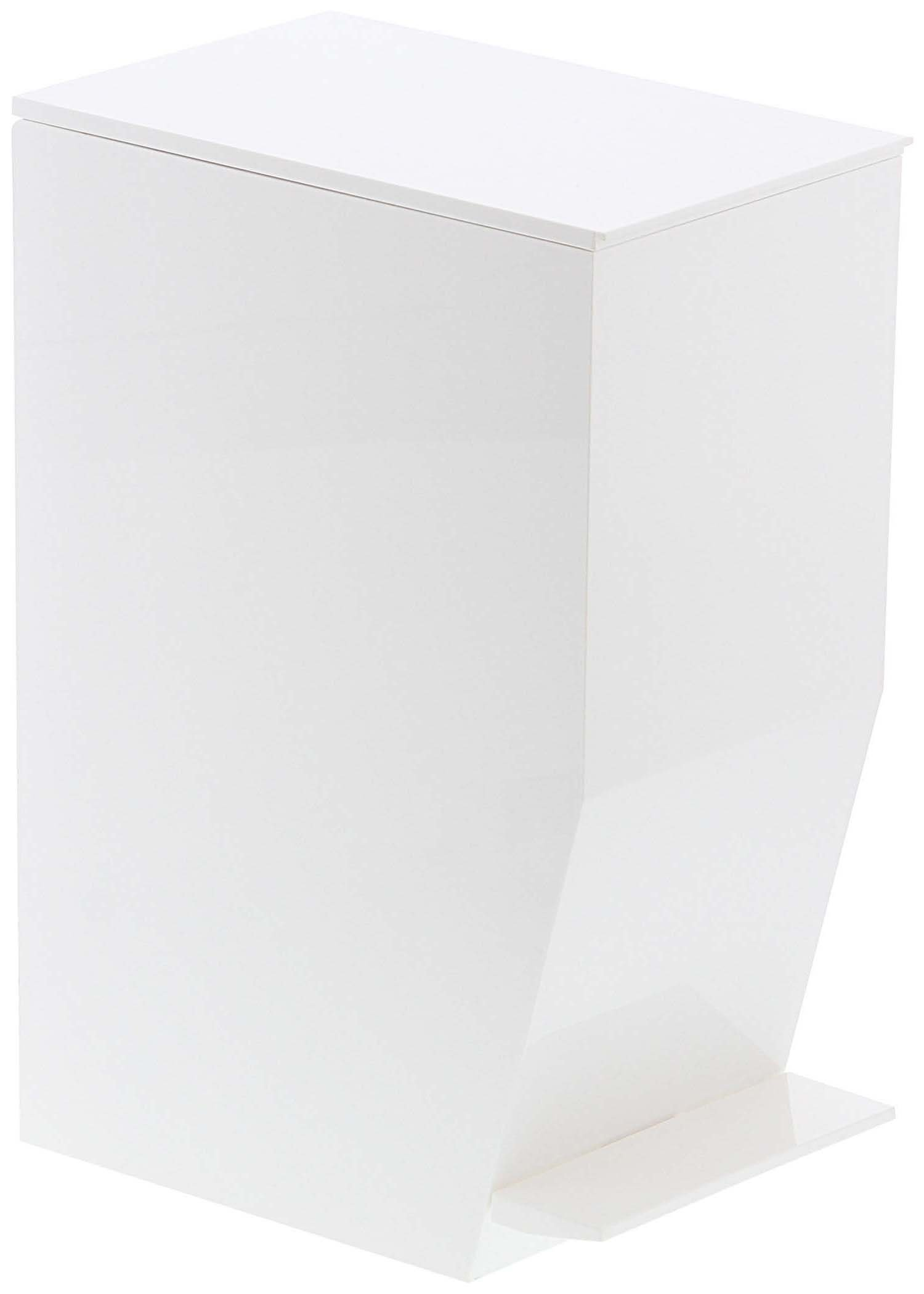 Small Sleek Sanitary Trash Can with Pedal, Rubbish Bin Receptacle Waste Disposal, For Office Home Bathroom Toilet, White