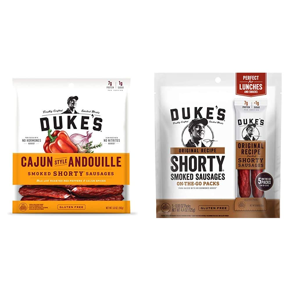 Duke's Cajun Andouille Pork Sausages, 5 Ounce & Original Recipe Smoked Shorty Sausages, Keto Friendly, On-the-Go Twin Pack, 5 Count per pack, 4.4 Ounce