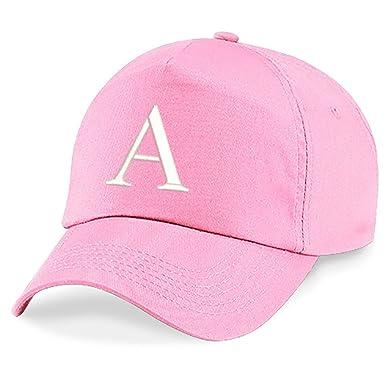 155ec117 4sold Childrens Embroidery Cotton Summer Sun Hat Children School Kids Caps  Hat Sport Alphabet A-Z Boy Girl Adjustable Baseball Cap Pink A:  Amazon.co.uk: ...