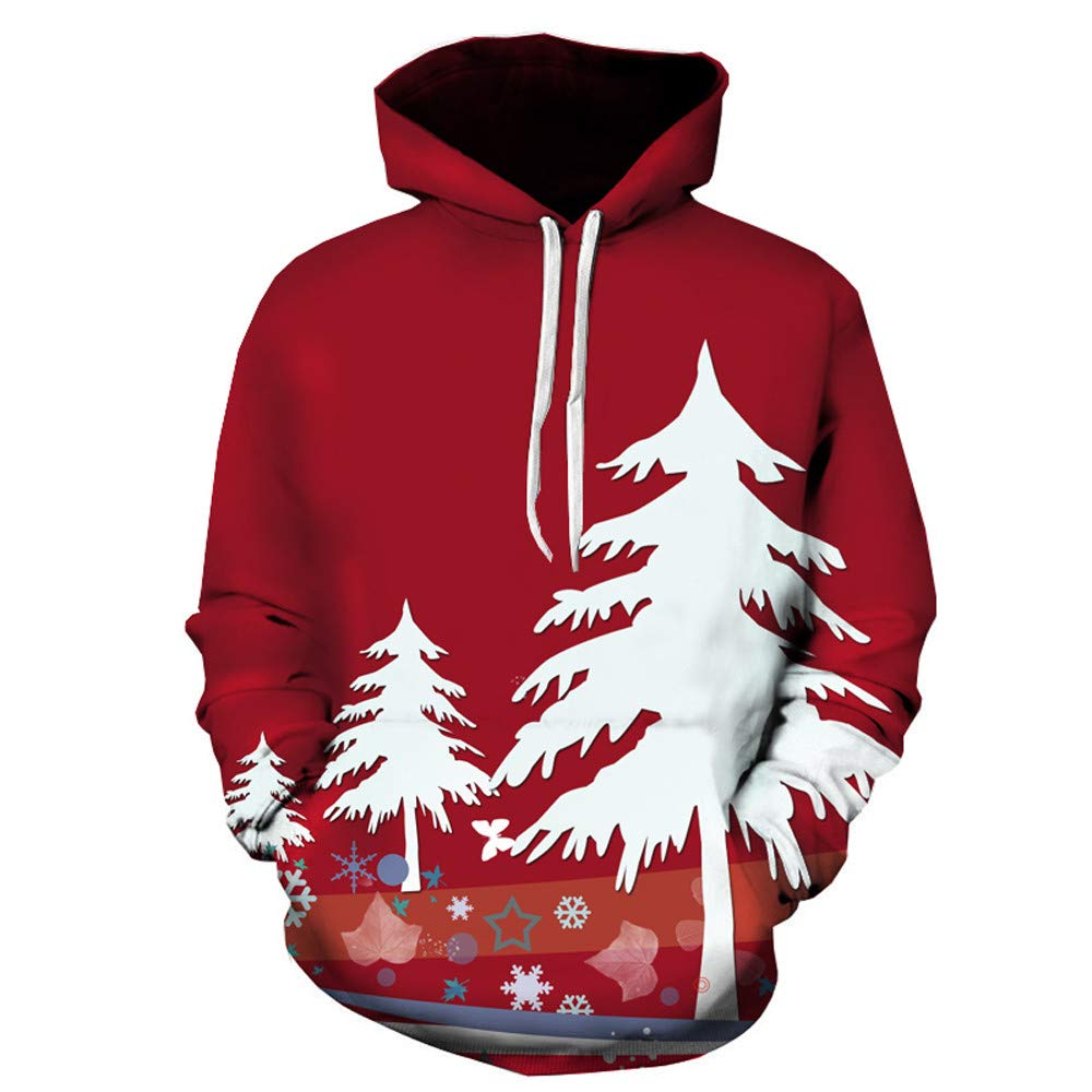 Casual Hoodies for Men,Men's Autumn Winter Christmas Tree Printing Hoodie Long Sleeve Sweatershirt Tops,Red,XL
