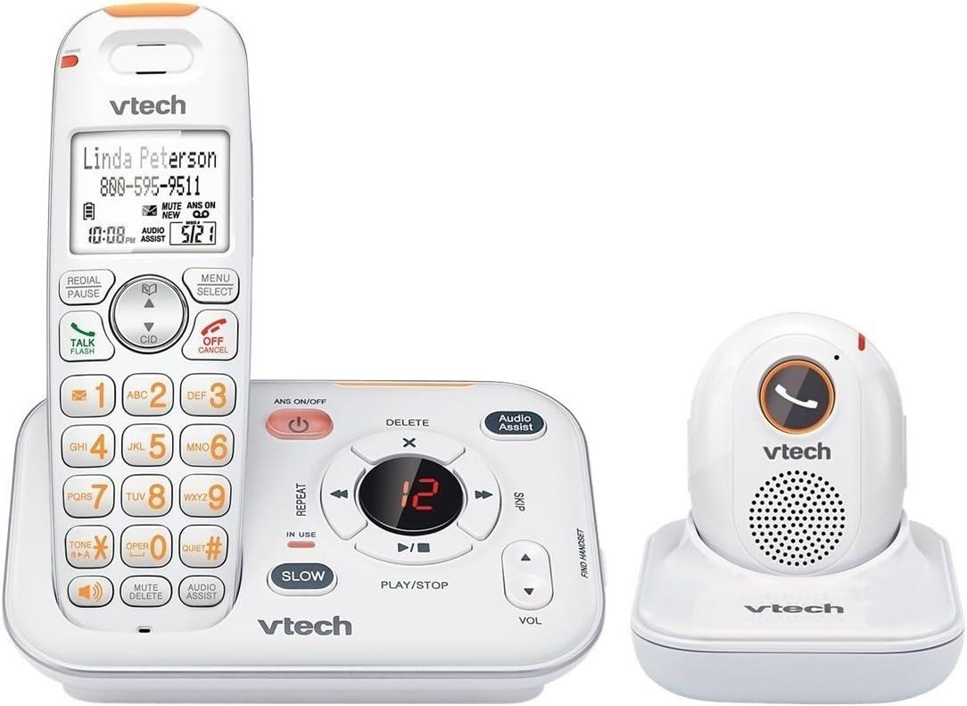 Teléfono fijo teléfono, Vtech sn6187 Careline auricular inalámbrico casa de teléfono, color blanco: Amazon.es: Electrónica