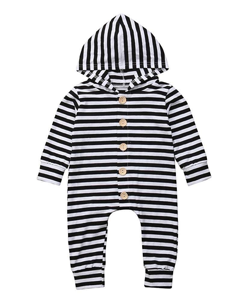 Wassery Newborn Baby Boy Striped Button Down Hoodie Romper Bodysuit Fall Playsuit Outfit Coveralls