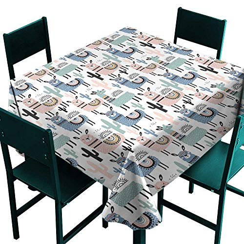 Warm Family Llama Easy Care Tablecloth Children Cartoon Style Hand Drawn South American Animals Alpacas and Llamas Design Indoor Outdoor Camping Picnic ()