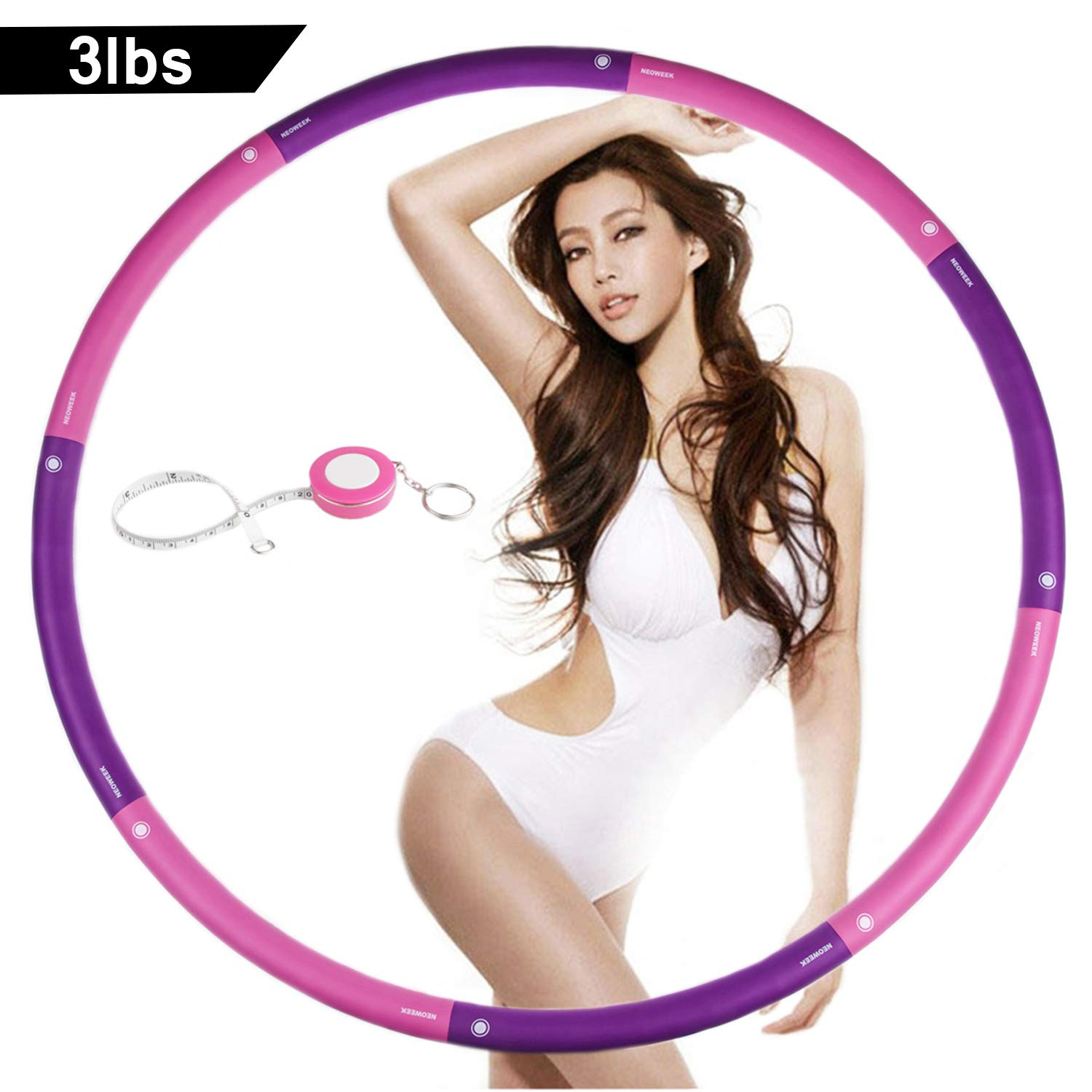 NEOWEEK | Upgraded | Weighted Hula Hoops for Exercise - 3lb, Professional Adult Hula Hoop for Weight Loss (Pink-Purple)