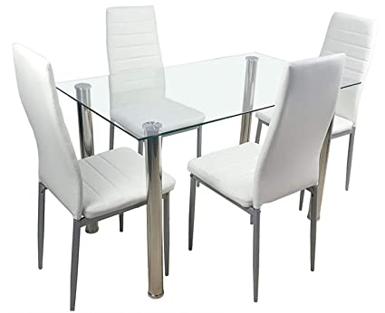 Magnificent Amazon Com Tg888 Dining Glass Table 4 White Chairs Faux Ibusinesslaw Wood Chair Design Ideas Ibusinesslaworg