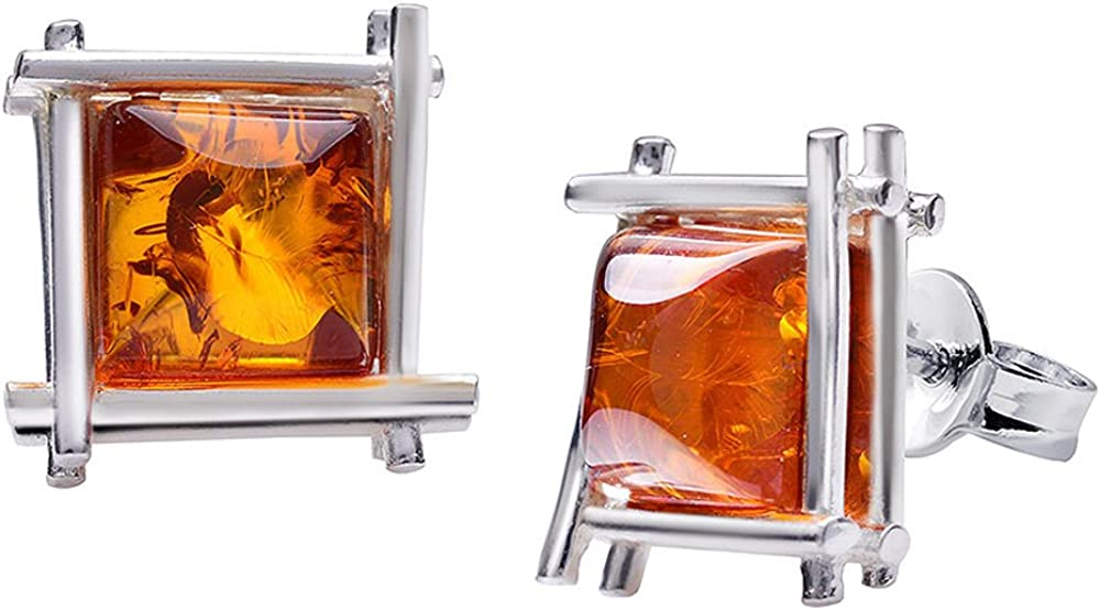 MATERIA ámbar pendientes plata 925Mujer Marrón Naranja Cuadrado rodio + Caja # So de 294