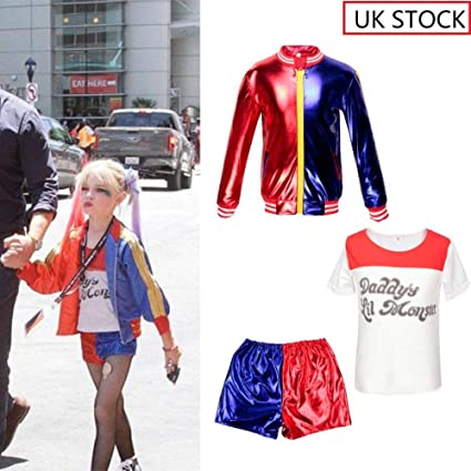 CBBI Kids Girls Costume Suicide Squad Harley Quinn Fancy Dress Cosplay Costume Outfit