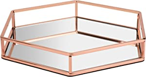 Hexagon Glossy Rose Gold Metal and Mirror Decorative Glass Tray, Perfect Storage Organizer Ottoman Coffee Table Serving Vanity Tray for All Occasions (Rose Gold, 13.813.82.2 inch)
