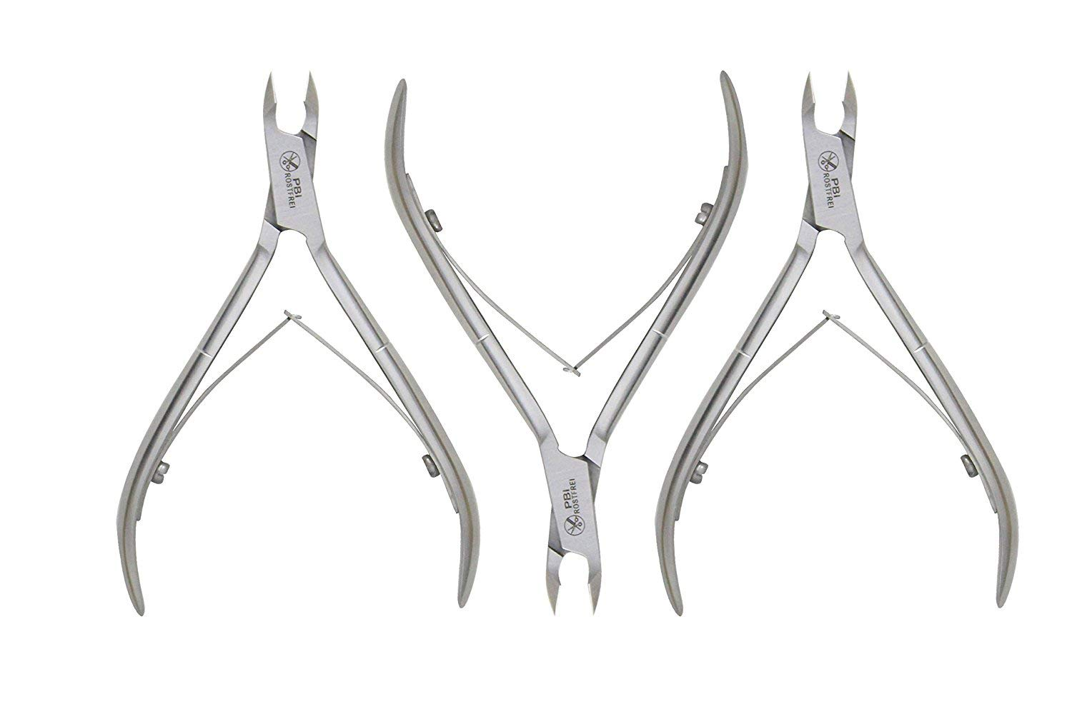 Professional Cuticle nipper - cuticle plier - manicure pedicure cuticle nipper - double spring cuticles plier - 4 inch - 3 pieces set - Stainless steel from PBI