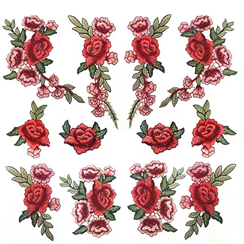 Banfeng 12pcs Rose Embroidered Lace Flower Applique Patches for Arts Crafts DIY Decor, Jeans, Jackets, Clothing, Bags ()