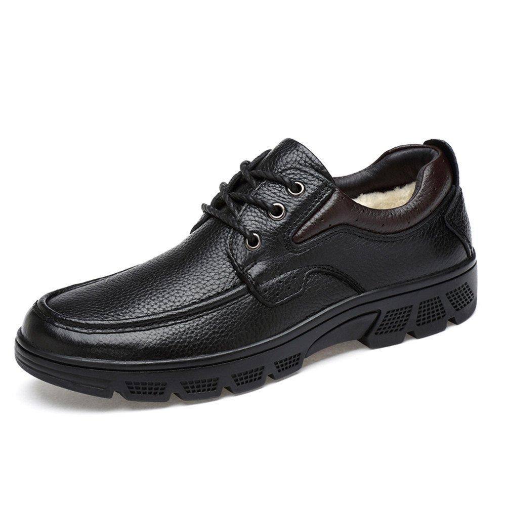 Hilotu Classic Shoes for Men's Fashion Oxford Casual Soft Aseismatic Light Belt Outsole Formal Shoes(Warm Velvet Optional) (Color : Warm Black, Size : 12 D(M) US)