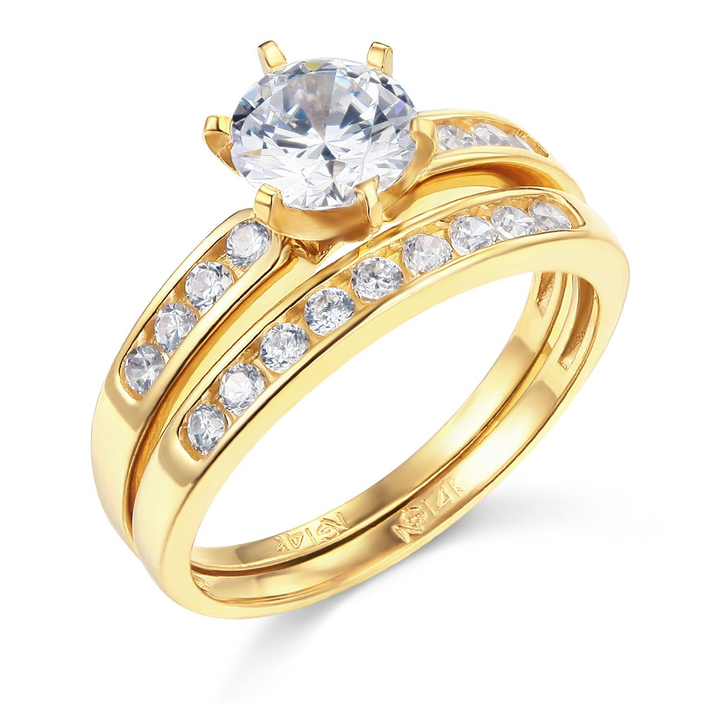 TWJC 14k Yellow Gold SOLID Wedding Engagement Ring and Wedding Band 2 Piece Set - Size 7