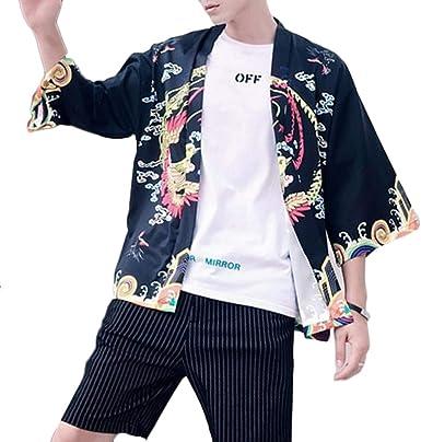 LaoZanA Camisa Kimono Estilo Japonés Rebeca Playa Chaqueta para Hombres: Amazon.es: Ropa y accesorios