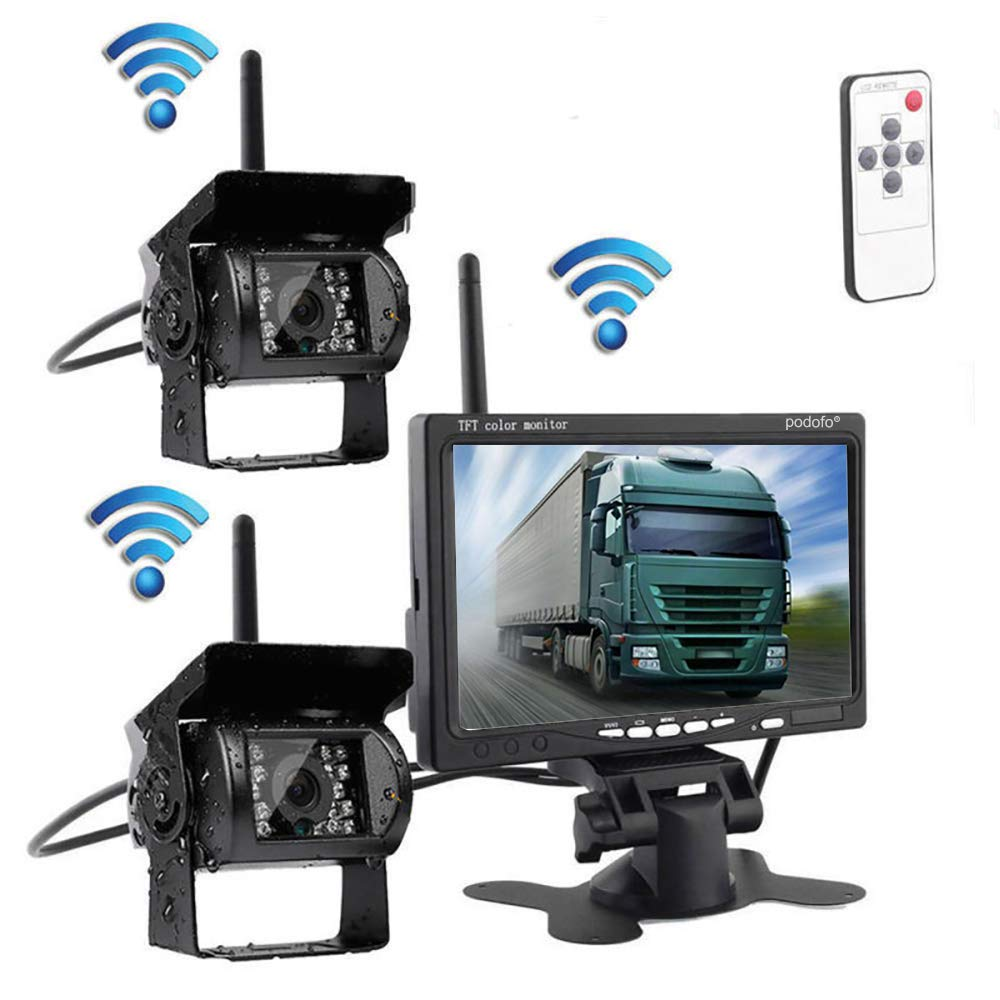 Podofo/® 4.3 Foldable Wireless Car TFT LCD Mirror Monitor with Waterproof Night Vision Parking Reversing Camera Kit