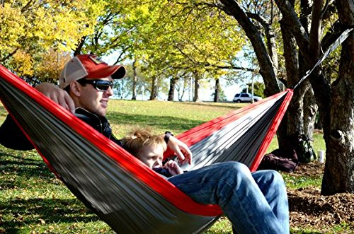 Happy Times Single One Person Nylon Parachute Camping Hammock with Paracord Rope and Steel Carabiners – Scarlet Red and Light Gray – Hammock Favorite of Ohio State Buckeyes Fans