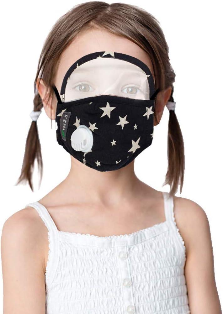 IUTE 2 Faciales Protectoras Algodon Lavables para Niños con Gafas de Protección y con 4 Filtros, Reutilizables con Válvula de Respiración (Blanco)