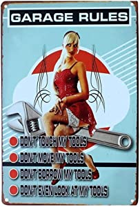 8''x12'' Garage Rules Tin Sign Vintage Funny Creature Iron Painting Metal Plate Personality Novelty