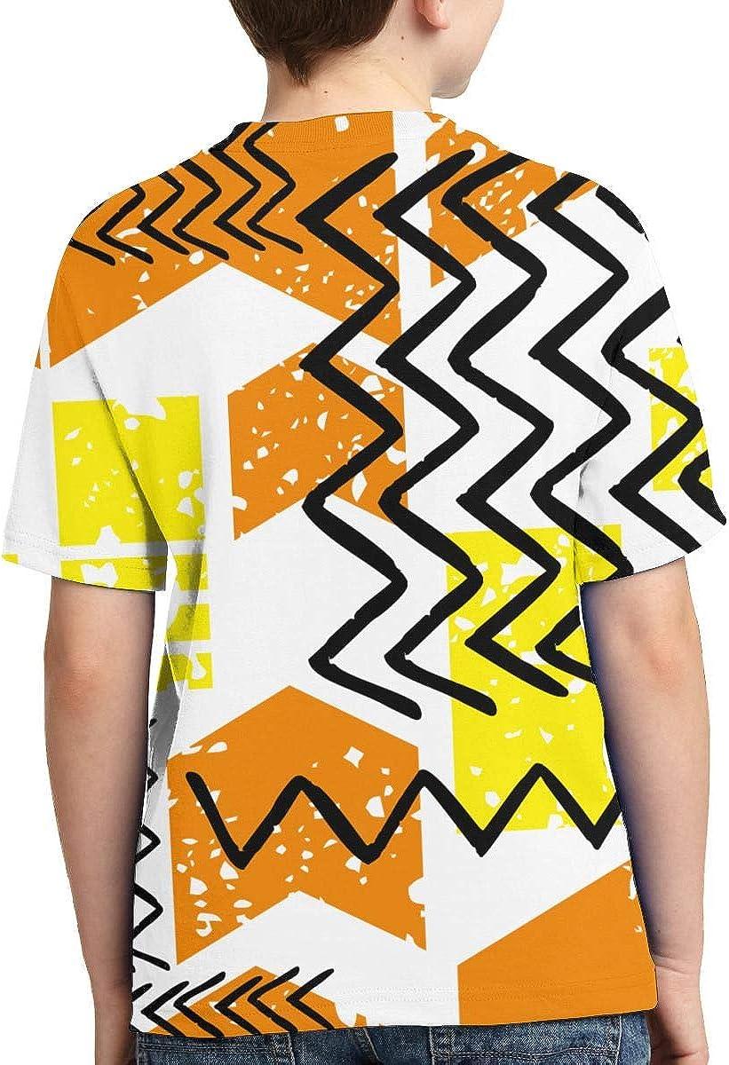 HIGASQ Abstract Geometry Pattern3-01 Boys Short Sleeve Crewneck Printing T Shirt