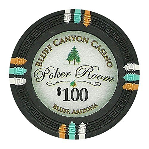 Chips Composite Denominated Clay Poker - Claysmith Gaming Bluff Canyon Poker Chips Heavyweight 13.5-gram Clay Composite – Pack of 50 ($100 Black)