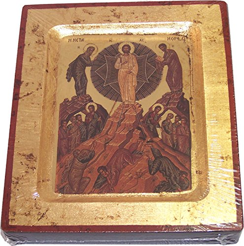 Transfiguration Of Our Lord Icon With Sheets Of Gold  Lithography   5 X 4 Inches