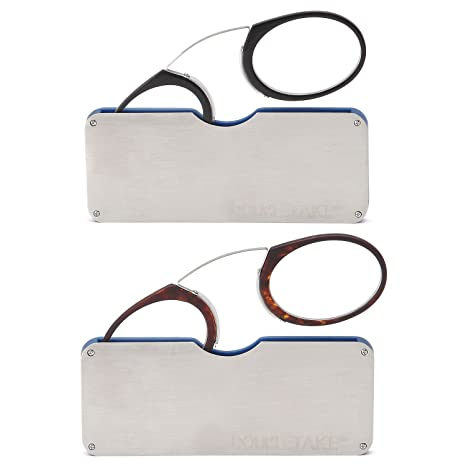 921f55fb2e4 DoubleTake 2 Pairs of Pince Nez Style Nose Resting Pinching Portable  Reading Glasses with No Temple Arms Readers for Men and Women  Amazon.ca   Luggage   ...