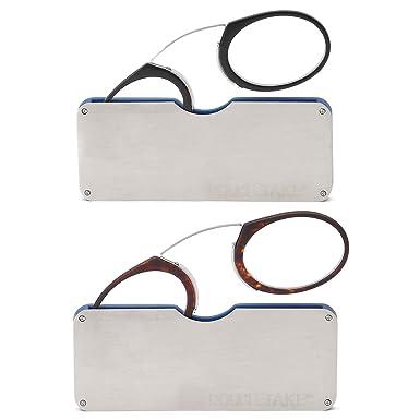 36fa5bef563b Amazon.com  DOUBLETAKE 2 Pack Pince Nez Portable Reading Glasses w Case -  3.00x  Clothing