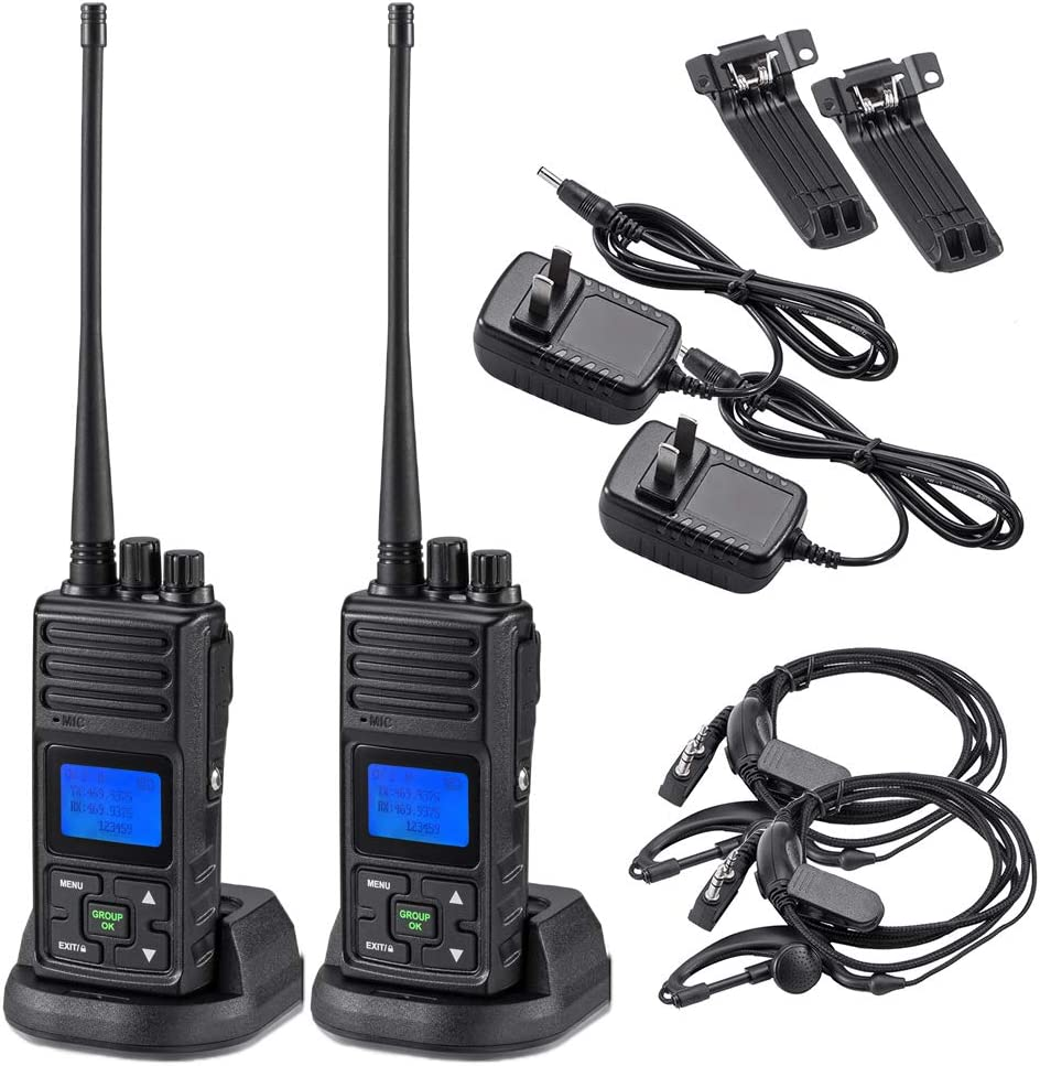 2 Way Radio 5 Watt Long Range, SAMCOM 20 Channels Programmable Walkie Talkie,Rechargeable Hand-held UHF Business Ham Radio for Skiing Hiking Hunting,2 Packs