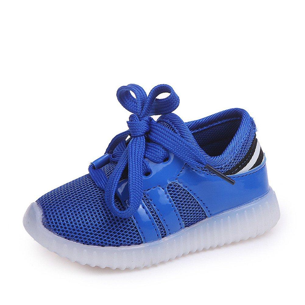 Stillshine LED Schuhe Jungen und Mädchen Stoff Sneaker Soft Sole, Komfortable und Leichte Kinderschuhe für Outdoor, Wandern und Freizeit Sneakers Halloween Weihnachtsgeschenk (Blau, 21)