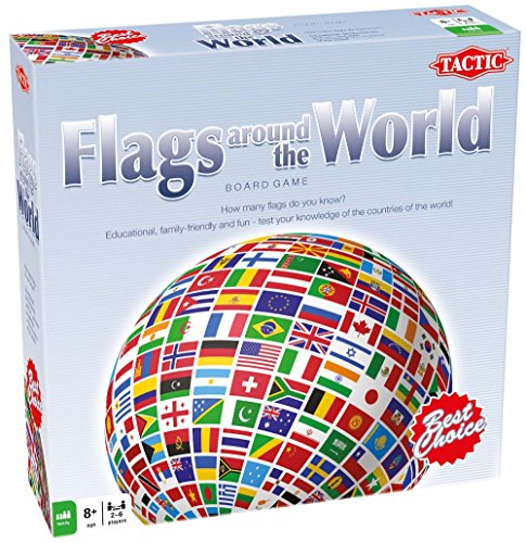 Tactic Games US Flags Around the World Board Games (238 Piece), Blue, 9.75