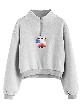 a54acbe9865d8 ZAFUL Women s Mock Turtleneck Sweatshirt American Flag Drop Shoulder  Cropped Pullover Tops(Gray-S