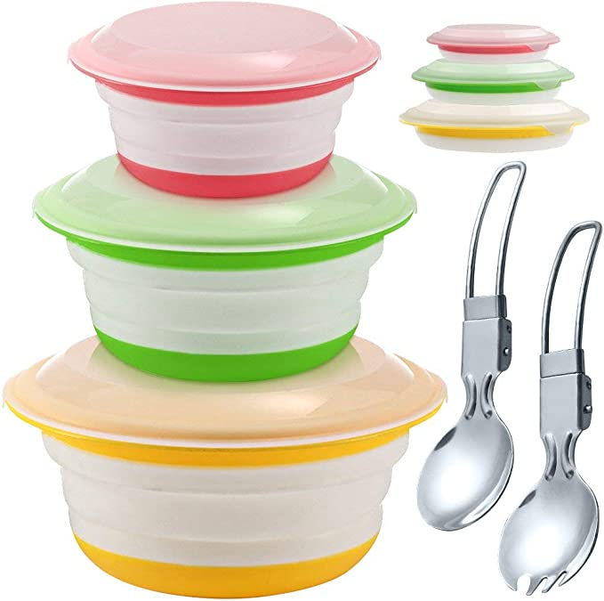 MiXXAR 3Pcs Collapsible Bowl Collapsible Camping Bowl Portable Silicone Bowl BPA Free with Lid Suitable for Camping Kitchen and more Outdoor Activities Caravans