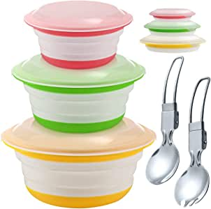 Silicone Collapsible Storage Bowls with Lids - Set of 3, IHUIXINHE Food Grade Silicone FDA Approved, Foldable Expandable Bowls for Food Water Feeding, Portable Travel Bowl, Free Foldable Spoon & Fork