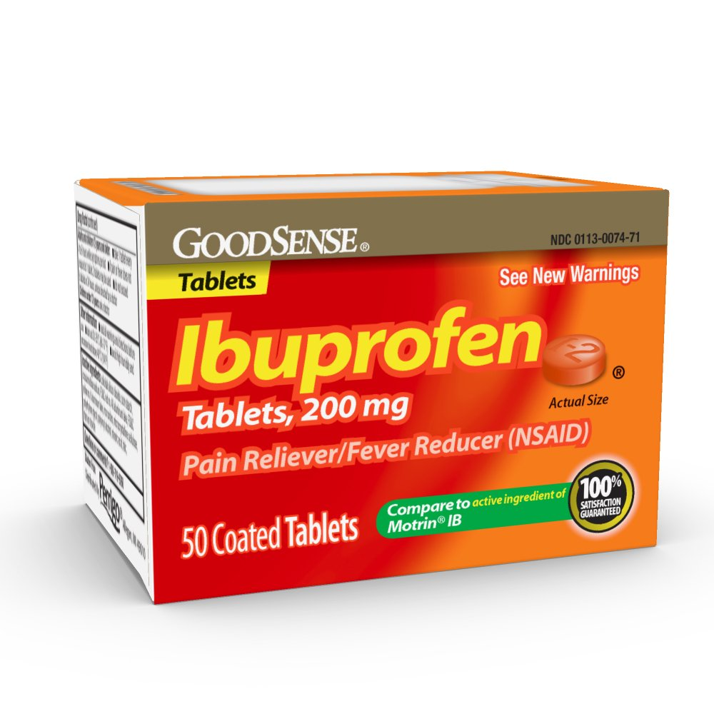 GoodSense Ibuprofen Pain Reliever/Fever Reducer, 200 mg Orange Coated Tablets, 50 Count