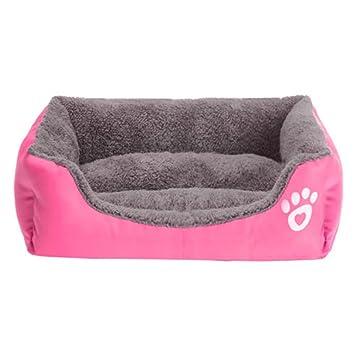 Yihya Lavable Lindo Cuadrado Rosa Suave Calentar Mascotas Pet Perros Casa Choza Cachorro Gato Cama Doggy Doghouse Cojín Basket (Tamaño Mediano: 58 * 45 ...
