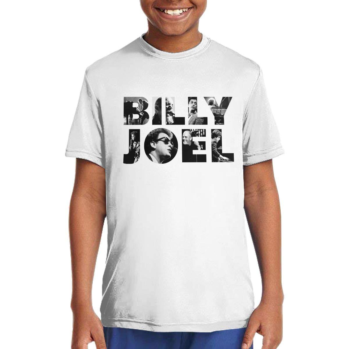 Azzomitiqing Little Boys T-Shirt Billy Joel Short Sleeve Crewneck Cotton Tee Shirt White