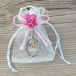 12 Pcs Baptism keychain with Organza Favor Bags Girl - Recuerdos de mi Bautizo / Christening