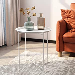 VECELO Side Round Tray Foldable Multi-Purpose Sofa,Coffee,End,Metal Table for Bedroom,Living Room,Light Grey