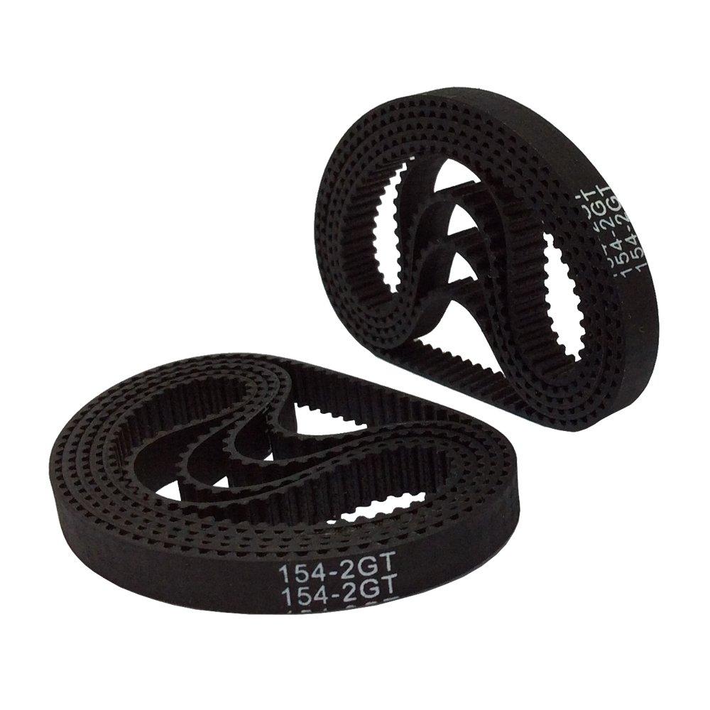 BEMONOC 154-2GT-6 Rubber Timing Belt L=154mm W=6mm 77 Teeth in Closed Loop for 3D Printer Pack of 10pcs BBQ Driver T/&HI-B014QK26GA