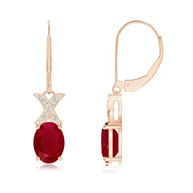 Angara Natural Ruby and Diamond Leverback Dangling Earrings in 14k White Gold q8hVF