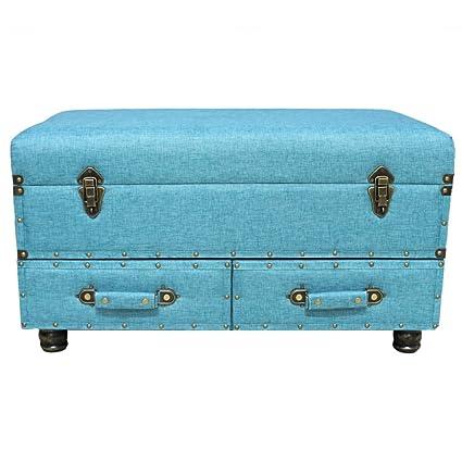 Beau 17u0026quot;H Linen Layton Storage Trunk   Blue