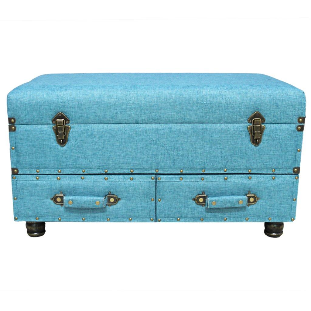 17''H Linen Layton Storage Trunk  - Blue